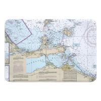 OH: Port Clinton, Catawba Island, Sandusky, OH Nautical Chart Memory Foam Bath Mat