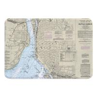 NY: Buffalo Harbor, NY Nautical Chart Memory Foam Bath Mat