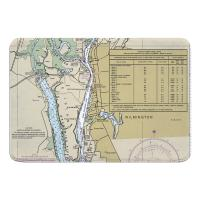 NC: Wilmington, NC Nautical Chart Memory Foam Bath Mat
