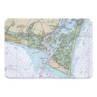 NC: Oak Island, Southport, Bald Head Island, NC Nautical Chart Memory Foam Bath Mat