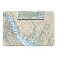 NC: New Bern, NC Nautical Chart Memory Foam Bath Mat