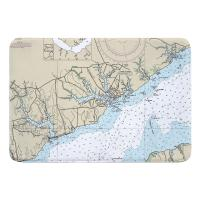 NC: Oriental, NC Nautical Chart Memory Foam Bath Mat