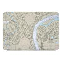 PA-NJ: Philadelphia, PA & Camden, NJ Nautical Chart Memory Foam Bath Mat
