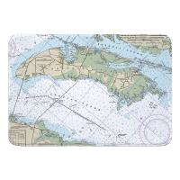 NC: Roanoke Island, NC Nautical Chart Memory Foam Bath Mat