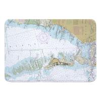 FL: Key Biscayne, FL Nautical Chart Memory Foam Bath Mat