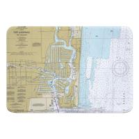 FL: Fort Lauderdale, FL Nautical Chart Memory Foam Bath Mat