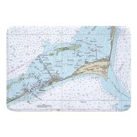 NC: Cape Hatteras, NC Nautical Chart Memory Foam Bath Mat
