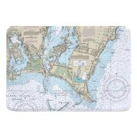 RI: Point Judith Harbor, RI Nautical Chart Memory Foam Bath Mat