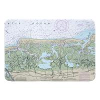 NJ: Stone Harbor, Avalon, NJ Nautical Chart Memory Foam Bath Mat