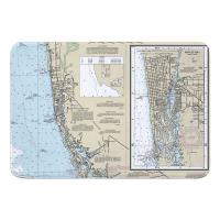 FL: Naples, FL Nautical Chart Memory Foam Bath Mat