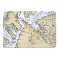 WA: Tacoma, WA Nautical Chart Memory Foam Bath Mat