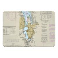WA: Olympia, WA Nautical Chart Memory Foam Bath Mat