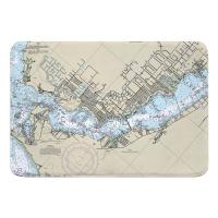 FL: Cape Coral, FL Nautical Chart Memory Foam Bath Mat