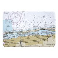FL: West Palm Beach, Lake Worth, FL Nautical Chart Memory Foam Bath Mat
