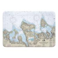 NY: Oyster and Huntington Bays, NY Nautical Chart Memory Foam Bath Mat