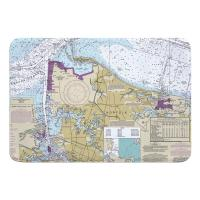 VA: Norfolk, VA Nautical Chart Memory Foam Bath Mat