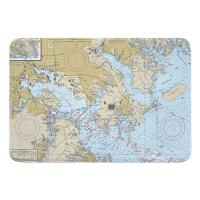 MD: Approaches to Baltimore Harbor, MD Nautical Chart Memory Foam Bath Mat