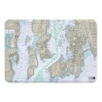 RI: Newport, Jamestown, RI Nautical Chart Memory Foam Bath Mat