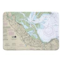 MA: Plymouth, MA Nautical Chart Memory Foam Bath Mat