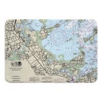 MA: Quincy, MA Nautical Chart Memory Foam Bath Mat