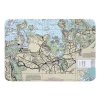 MA: Hingham, MA Nautical Chart Memory Foam Bath Mat