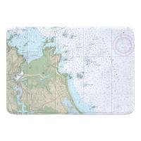 MA: Cohasset Harbor, MA Nautical Chart Memory Foam Bath Mat
