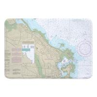 MA: Scituate Harbor, MA Nautical Chart Memory Foam Bath Mat