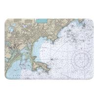 MA: Lynn, Nahant, MA Nautical Chart Memory Foam Bath Mat