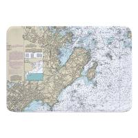 MA: Marblehead, Salem, MA Nautical Chart Memory Foam Bath Mat