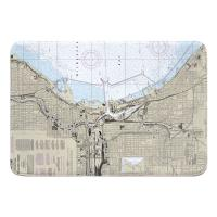 WI: Milwaukee, WI Nautical Chart Memory Foam Bath Mat