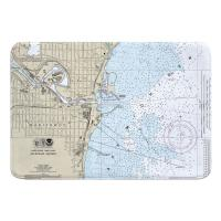 WI: Manitowoc, WI Nautical Chart Memory Foam Bath Mat