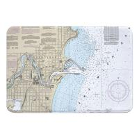 WI: Sheboygan, WI Nautical Chart Memory Foam Bath Mat