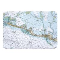 FL: Islamorada, FL Nautical Chart Memory Foam Bath Mat