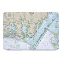 NC: Beaufort Inlet, Core Sound, NC Nautical Chart Memory Foam Bath Mat