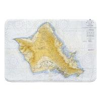 HI: Oahu, HI, C. 1959 Vintage Nautical Chart Memory Foam Bath Mat