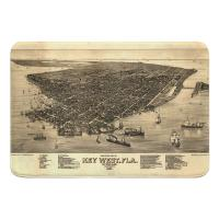 FL: Key West, FL, C. 1884 Vintage Bird's Eye View Memory Foam Bath Mat