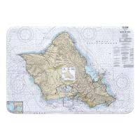 HI: Oahu, HI Nautical Chart Memory Foam Bath Mat