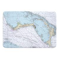 BAHAMAS: Grand Bahama, Abaco, Bahamas Nautical Chart Memory Foam Bath Mat