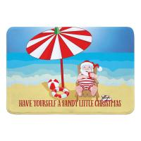Beach Santa Christmas Memory Foam Bath Mat
