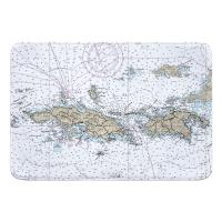 USVI: St. Thomas, St. John, USVI Nautical Chart Memory Foam Bath Mat
