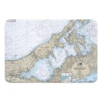 NY: Shelter Island Sound and Peconic Bays, NY Nautical Chart Memory Foam Bath Mat