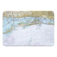 FL: Clearwater Beach, FL Nautical Chart Memory Foam Bath Mat