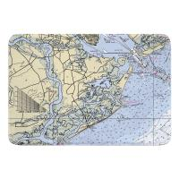 SC: James Island, Folly Island, SC Nautical Chart Memory Foam Bath Mat