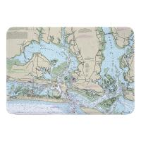 NC: Morehead City, Beaufort, NC Nautical Chart Memory Foam Bath Mat