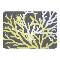 Coral Duo on Gray Memory Foam Bath Mat