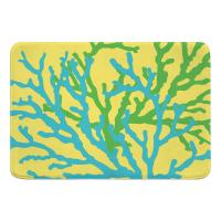 Coral Duo on Yellow Memory Foam Bath Mat