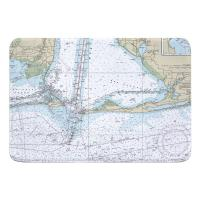 AL: Dauphin Island, Fort Morgan, Pine Beach, Gulf Shores, AL Nautical Chart Memory Foam Bath Mat