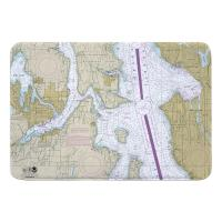 WA: Bremerton, Bainbridge Island, Seattle, WA Nautical Chart Memory Foam Bath Mat