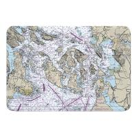 WA: San Juan Islands, Bellingham, Anacortes, WA Nautical Chart Memory Foam Bath Mat