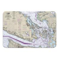 WA: Strait of Georgia, Strait of Juan De Fuca, WA Nautical Chart Memory Foam Bath Mat